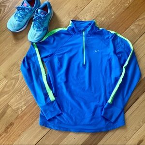 Blue and Lime Green Quarter Zip Nike Jacket